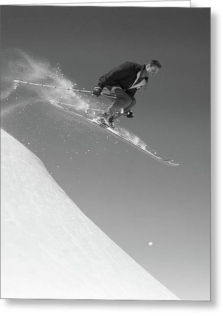 1950s Man Skiing Downhill Off Slope Greeting Card