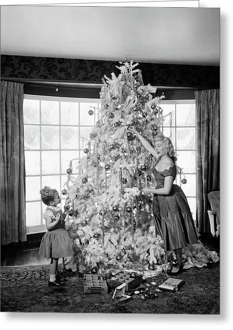 1950s Mother And Daughter Decorating Greeting Card