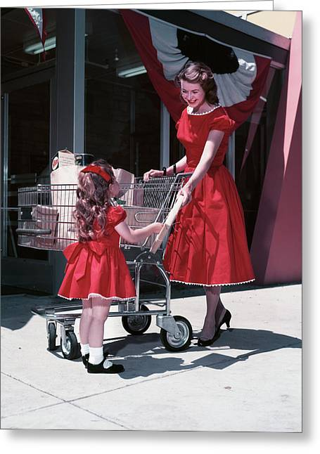 1950s Mother And Daughter Wearing Greeting Card