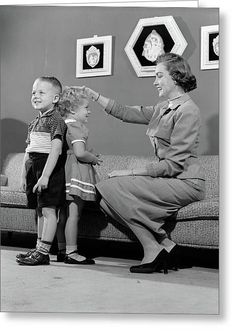 1950s Mother Measuring Difference Greeting Card