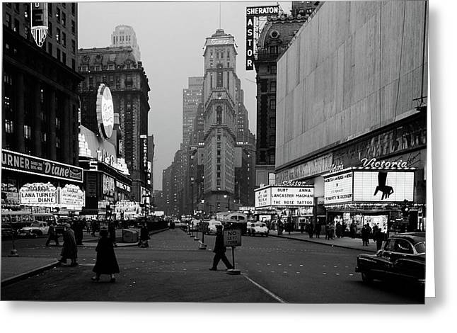1950s Night Times Square Looking South Greeting Card