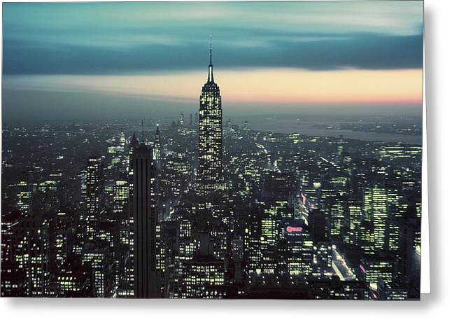 1950s Night View Of Empire State Greeting Card