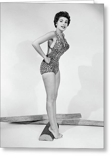 1950s Pin-up Portrait Of Smiling Woman Greeting Card