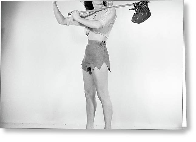 1950s Pin Up Woman Wearing Straw Hat Greeting Card