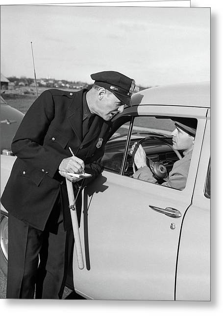 1950s Policeman With Stopped Motorist Greeting Card