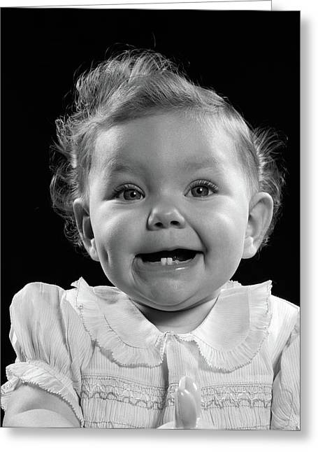 1950s Portrait Baby Girl Smiling Greeting Card