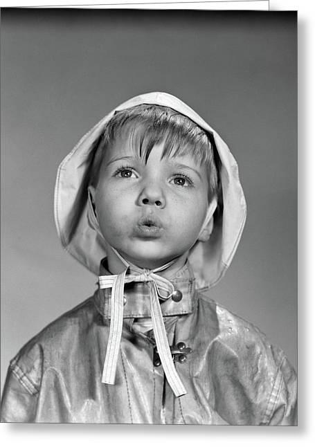 1950s Portrait Boy Wearing Rain Hat Greeting Card