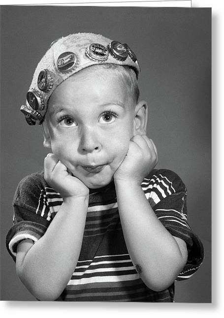 1950s Portrait Of Boy Resting Head Greeting Card