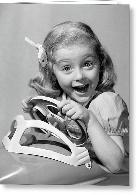 1950s Portrait Of Little Girl Driving Greeting Card