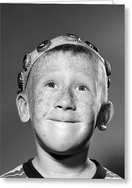 1950s Portrait Of Smiling Freckled Teen Greeting Card