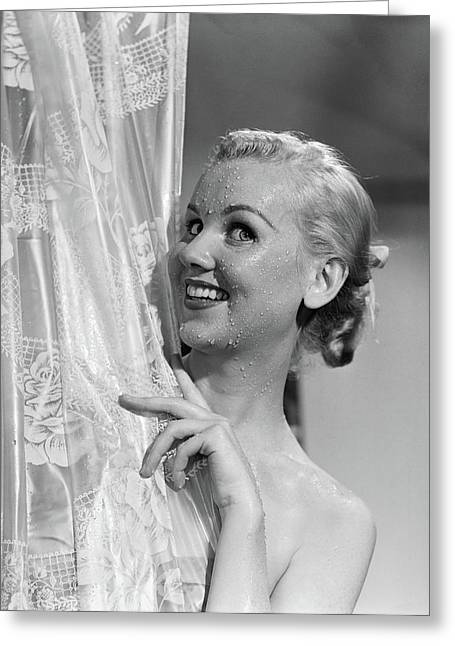 1950s Portrait Of Wet Blonde Woman Greeting Card