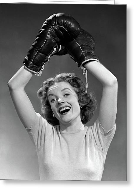 1950s Portrait Of Woman Wearing Boxing Greeting Card