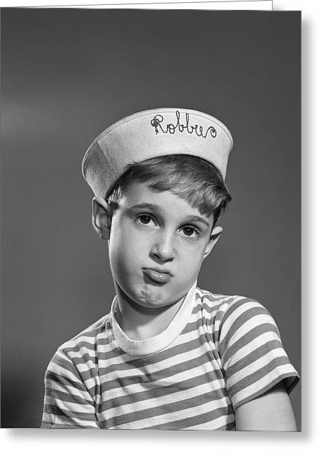 1950s Portrait Sad Pouting Boy Wearing Greeting Card