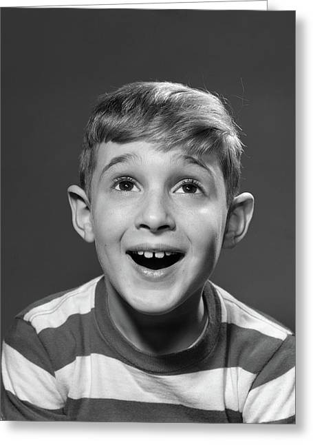 1950s Portrait Smiling Boy Looking Greeting Card