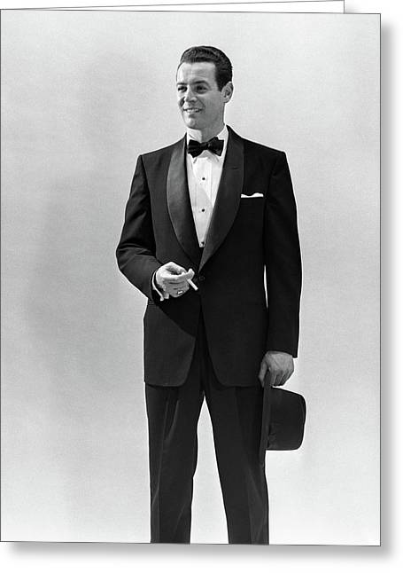 1950s Portrait Smiling Man Wearing Greeting Card