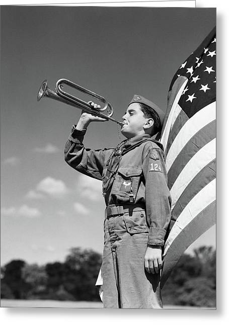 1950s Profile Of Boy Scout In Uniform Greeting Card