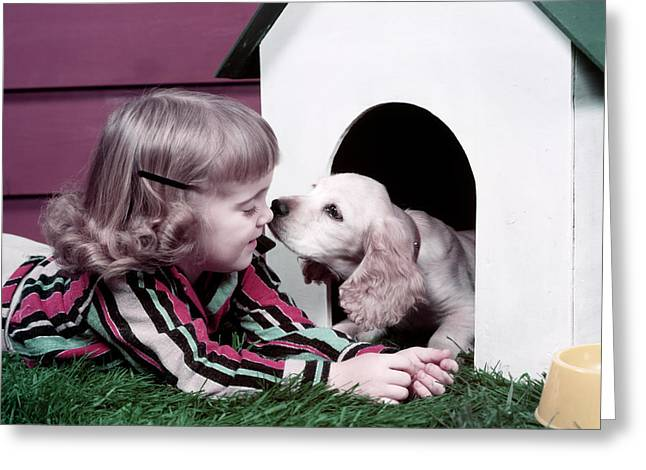 1950s Puppy In Doghouse Kissing Smiling Greeting Card