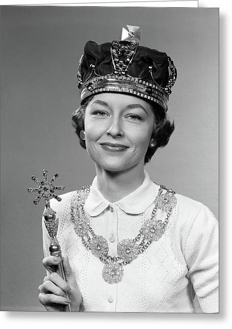 1950s Queen For A Day Woman Wearing Greeting Card