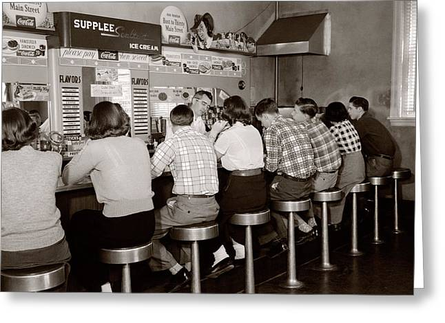 1950s Rear View Of Group Of Teenage Greeting Card