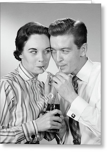 1950s Romantic Couple Head To Head Greeting Card