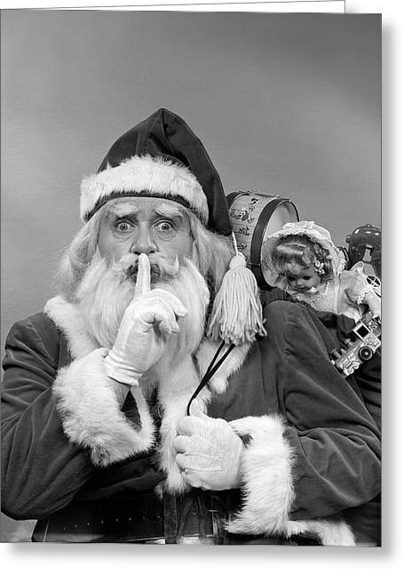 1950s Santa Claus With A Bag Of Toys Greeting Card