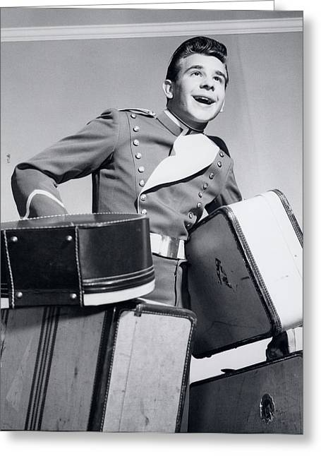 1950s Smiling Bellboy Carrying Four Greeting Card