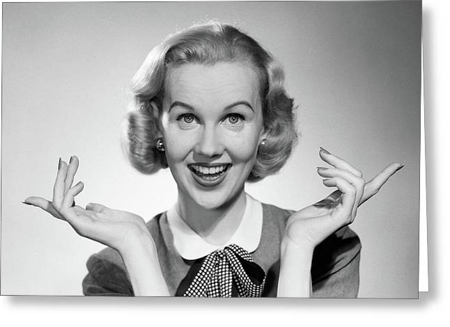 1950s Smiling Blonde Portrait Female Greeting Card