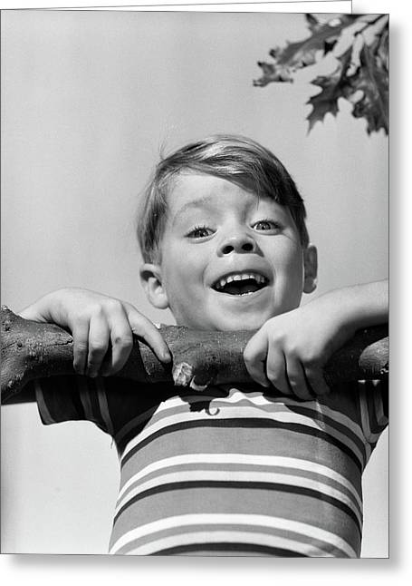 1950s Smiling Boy Doing Chin-up On Tree Greeting Card