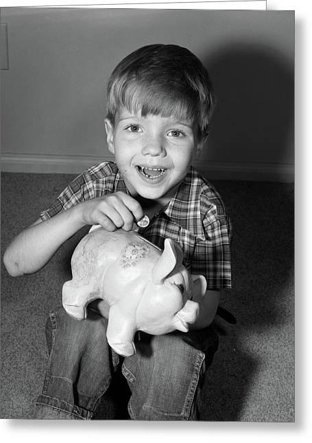1950s Smiling Boy Looking At Camera Greeting Card