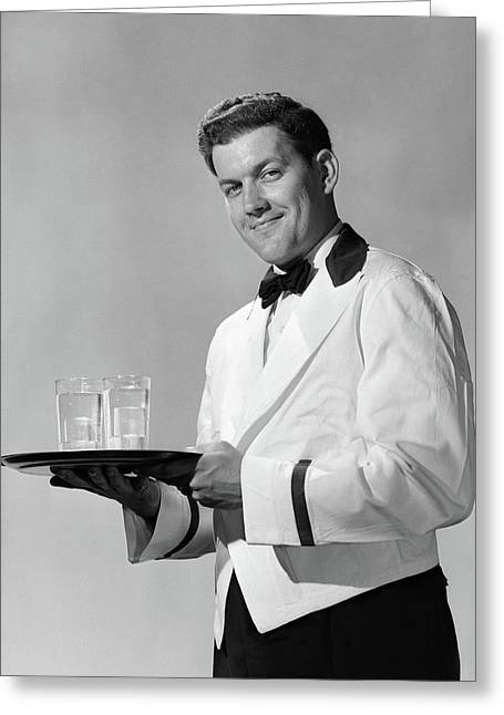 1950s Smiling Man Waiter Bow Tie & Greeting Card
