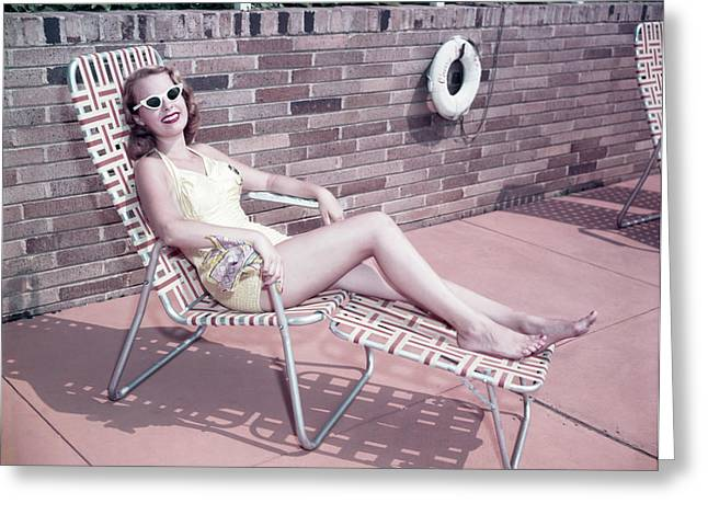 1950s Smiling Woman Sun Bathing Wearing Greeting Card