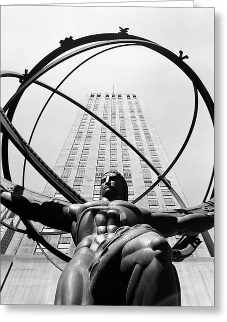1950s Statue Of Atlas At Rockefeller Greeting Card
