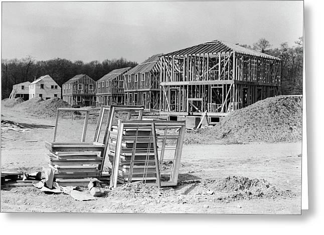 1950s Suburban Housing Development Greeting Card