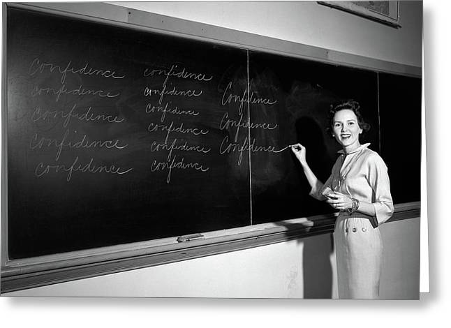 1950s Teacher In Front Of Classroom Greeting Card