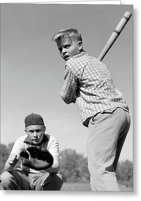 1950s Teen Boy At Bat With Catcher Greeting Card