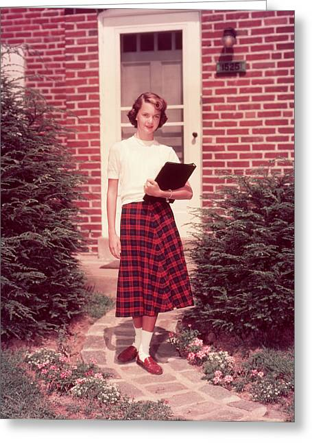 1950s Teen Teenage Girl Holding School Greeting Card