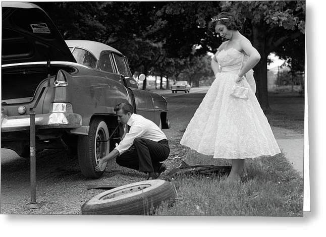 1950s Teenage Boy Crouching Greeting Card