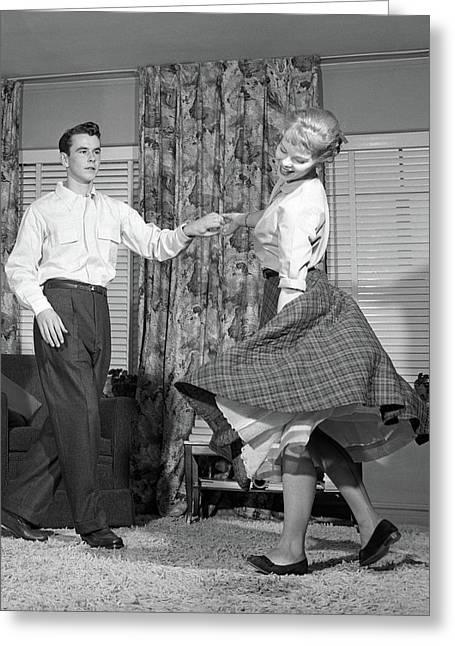 1950s Teenage Couple Jitterbug Dancing Greeting Card
