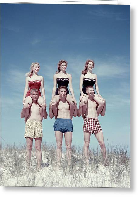1950s Three Teenage Couples Standing Greeting Card