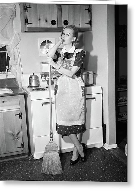 1950s Tired Housewife In Apron Standing Greeting Card