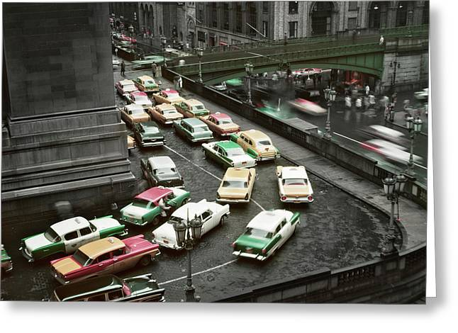 1950s Traffic Jam On Rainy Day Greeting Card