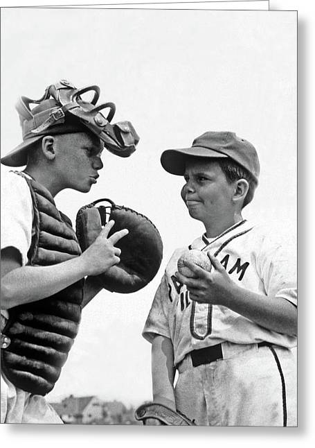 1950s Two Boys Wearing Little League Greeting Card