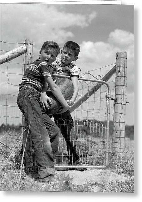 1950s Two Farm Boys In Striped T-shirts Greeting Card