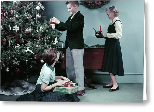 1950s Two Girls And One Boy Decorating Greeting Card
