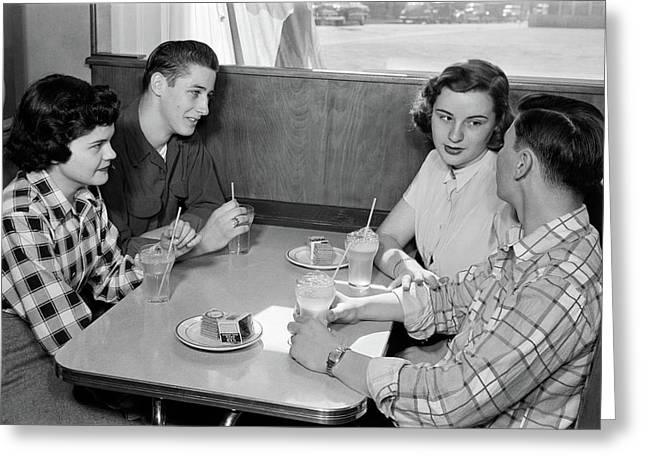1950s Two Teenage Couples At Booth Greeting Card