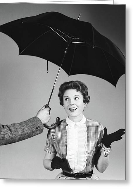 1950s Unseen Man Hold Out Umbrella Greeting Card