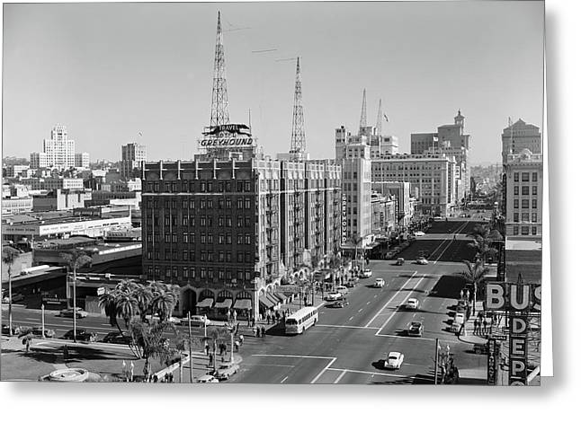 1950s View Of Downtown And Greyhound Greeting Card