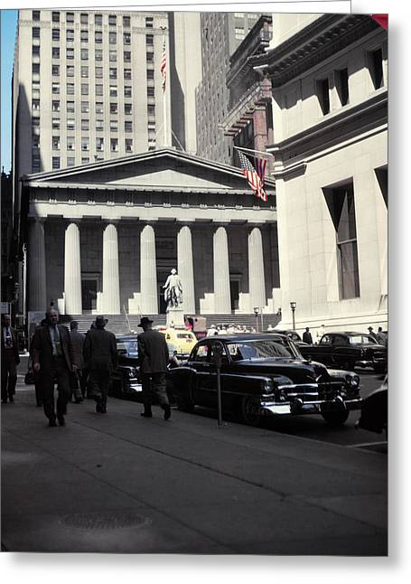 1950s Wall Street View Looking Towards Greeting Card