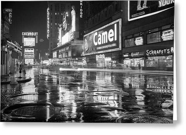 1950s Wet Rainy Streets Of Times Square Greeting Card