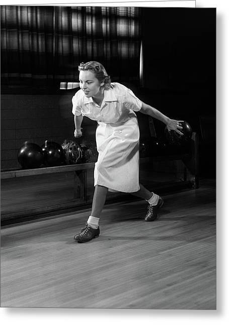 1950s Woman Bowling About To Release Greeting Card